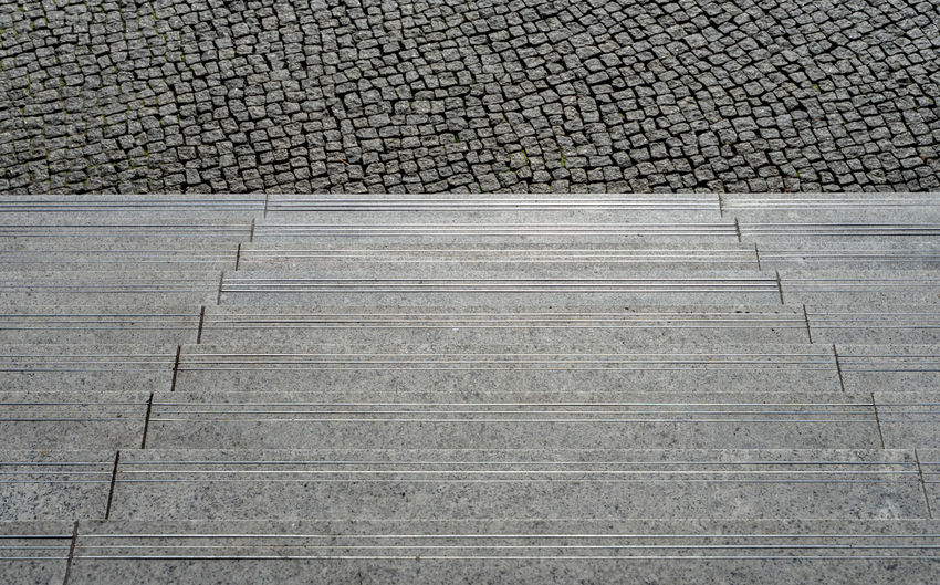 Black And White Steps And Staircases Steps Stairs Stair Minimalism Minimal Minimalistic Krull&Krull Minimalistic Pattern Staircase Architecture No People Day High Angle View Full Frame Textured  Footpath Built Structure Backgrounds Outdoors Gray Stone Solid Cobblestone Stone Material Flooring Nature Paving Stone Concrete