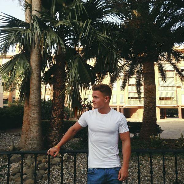 SPAIN Holiday Snap A Stranger One Person Boy Trees Palm Tree Benalmádena, Malaga, Spain