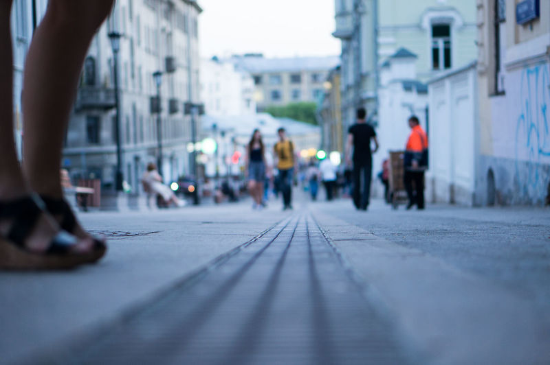 Architecture Building Building Exterior Built Structure City City Life City Street Day Diminishing Perspective Focus On Foreground Group Of People Leisure Activity Lifestyles Medium Group Of People Outdoors Selective Focus Sky Surface Level The Way Forward Travel Destinations