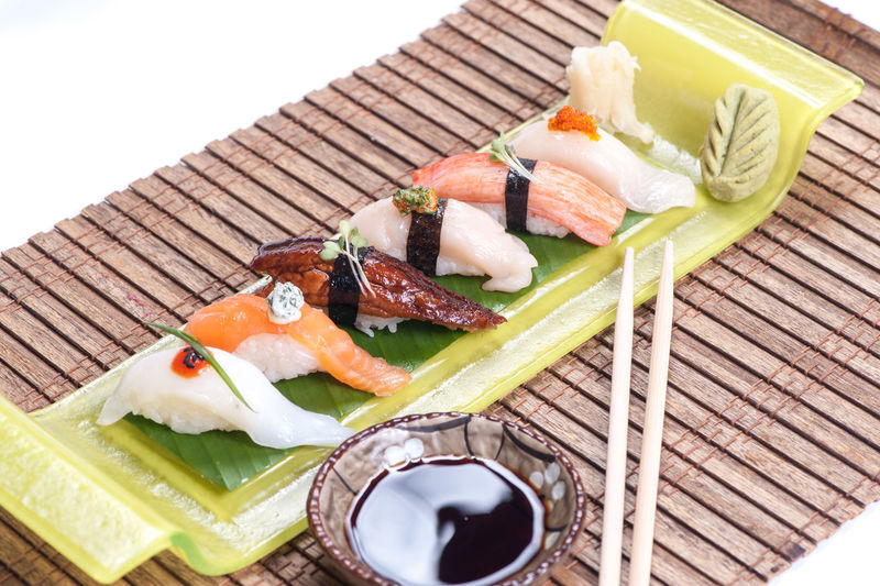High angle view of sushi in plate
