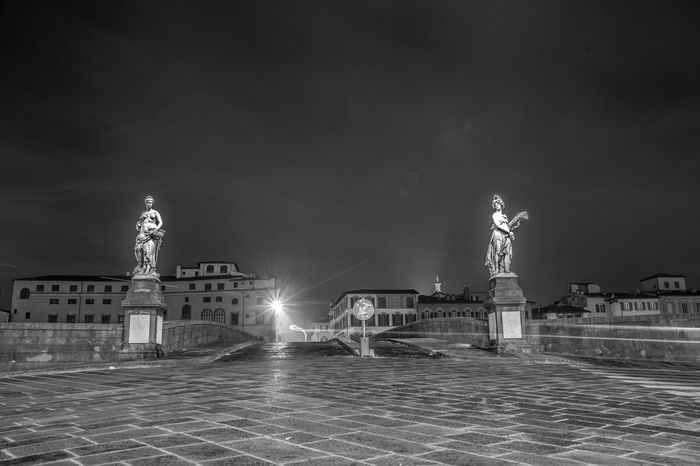 Architecture Bridge Building Exterior City Florence Florence Italy Four Seasons  Illuminated Italy Light Trail Light Trails Long Exposure Michaelangelo Night No People Outdoors Sky Statue Tower Travel Travel Destinations Urban Skyline Water