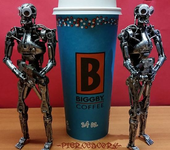 I think I know what happened to my coffee..... T2 Endoskeleton Neca Necatoys Blackseries Biggbyleonardfuller Biggby Nocoffeenowork Coffee Coffeeordeath