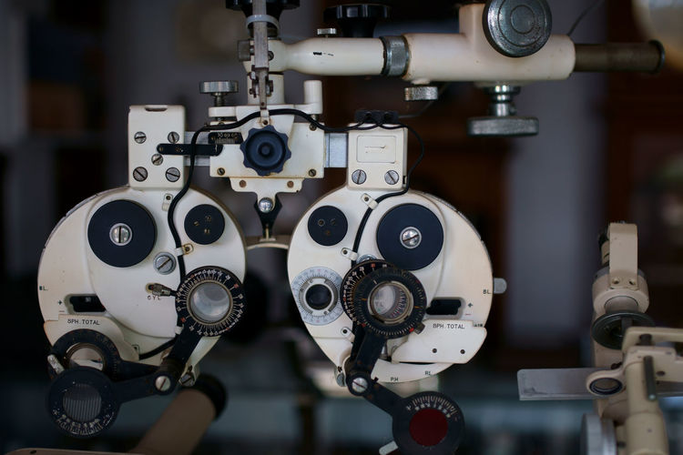 Close-up of eye test equipment in hospital