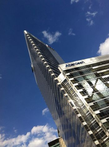 Blue Sky Clear Sky Architecture Sunlight Reflection Metalic In The Afternoon Look Up Ant View