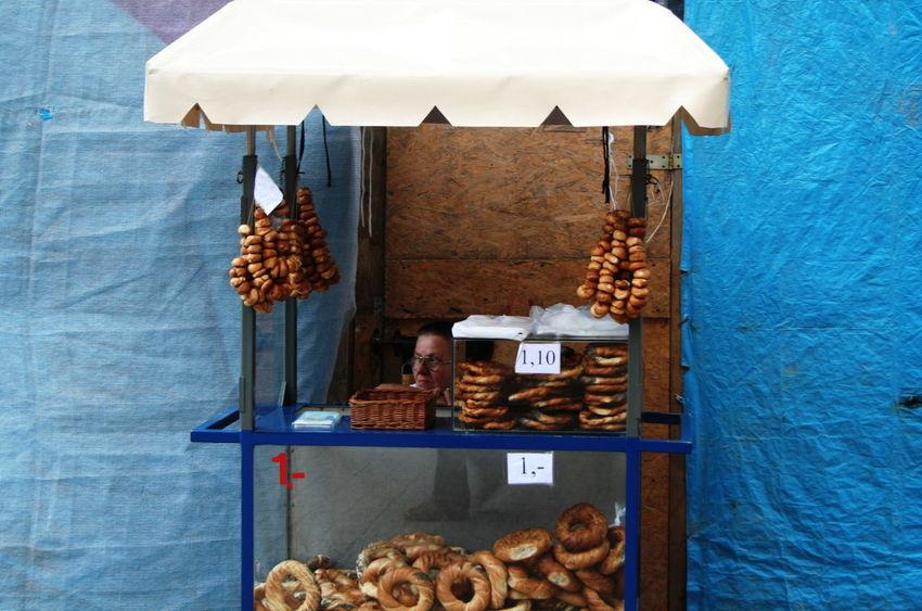 2007 Blue Color Poland Woman Bread Day Food Krakow Prezels Retail  Street Shop