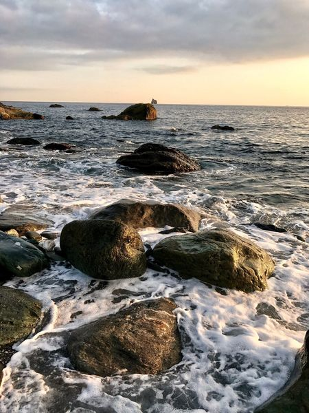 Autumn Sunset Colours Beautiful Sea Horizon Over Water Rock - Object Beauty In Nature Water Nature Scenics Sky Sunset Cloud - Sky Tranquil Scene Beach Tranquility No People Outdoors Wave Day The Week On EyeEm Oseto Japan