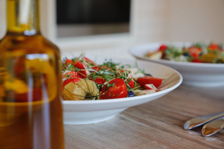 Salad Colorful Food Food And Drink Freshness Fruit Fruits Healthy Eating Herb Indoors  No People Oil Olive Oil Still Life Summer Salad Table Tomato Vegetable Wellbeing