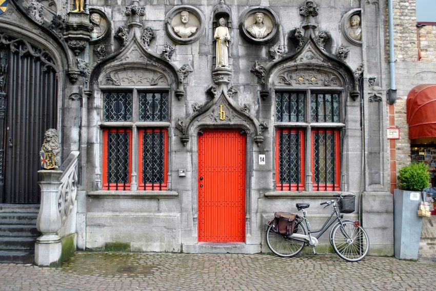 Architecture Belgium Bicycle Brugge Brugge Belgium Built Structure Church Day Door Horizontal Main Square No People Old-fashioned Outdoors Red Red Door Religious  Travel Destinations