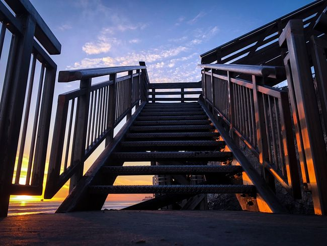 Sunset Stairs -Isla Vista, CA Colors Sunset Railing Steps Sky Built Structure Outdoors Architecture The Way Forward Day No People Hand Rail
