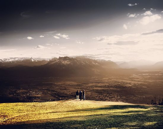 Mountain Landscape Nature Beauty In Nature People Real People Men Sky Tranquil Scene Standing Grass Field Mountain Range Outdoors Photographing Day Austria Salzburg