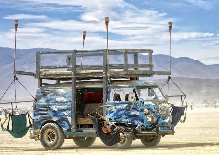 Cruising the Playa Art Car Mode Of Transport Mutant Vehicle Playa Transportation Van Vanlife Volkswagen Volkswagon VW Bus