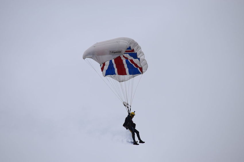 Mid-air Extreme Sports Southport Airshow 2016 Paragliding Stunt Blue Sky Outdoors Union Jack