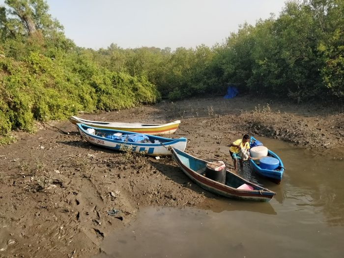Nautical Vessel Water Transportation Mode Of Transportation Plant Real People Tree Nature Day Men Moored Lifestyles One Person Oar Lake Outdoors Beauty In Nature Rowboat