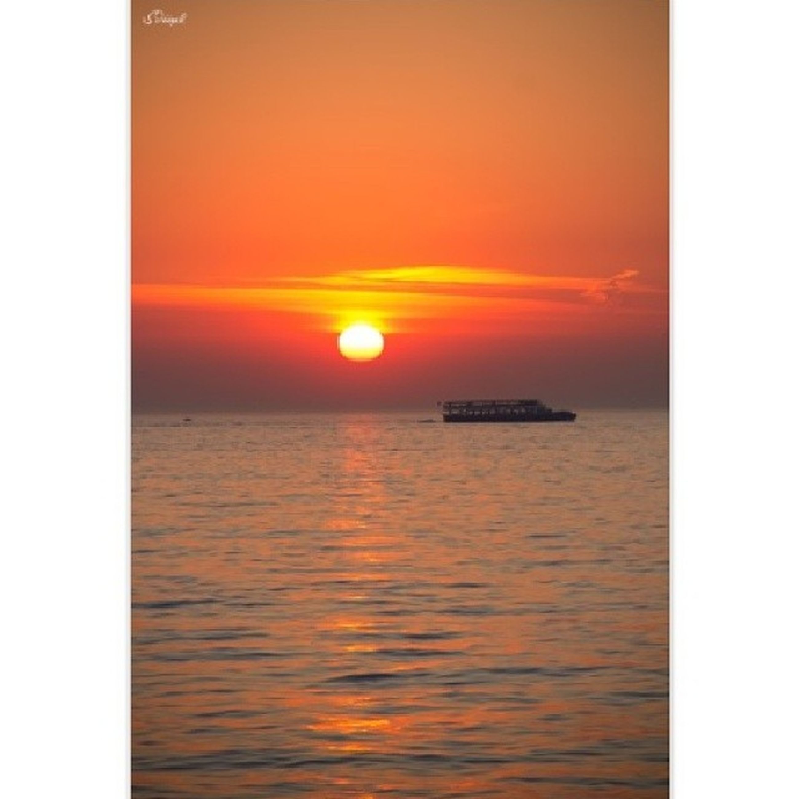 sunset, sea, water, horizon over water, sun, scenics, orange color, tranquil scene, waterfront, beauty in nature, tranquility, nautical vessel, sky, transfer print, idyllic, boat, nature, transportation, auto post production filter, rippled