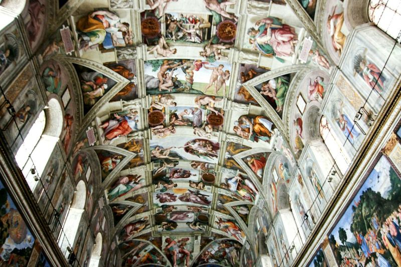They don't allow photographs to be taken inside the Sistine Chapel but i managed to shoot one off using a wide angle lens and AF. Sistine Chapel  Vatican City Rome Roma Michaelangelo Italy Risky Business Romanhistory Religious Art The Creation Of Adam