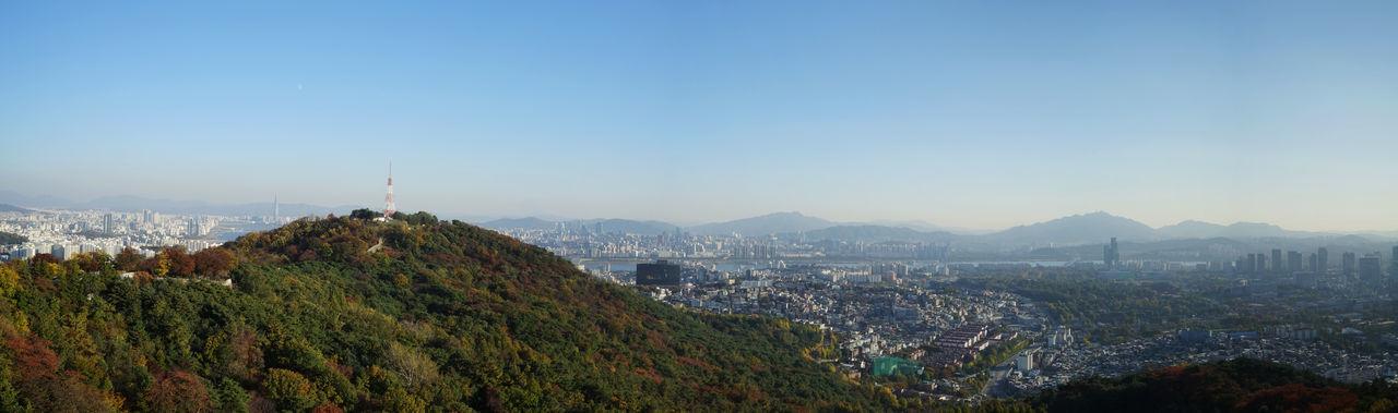 Autumn Beautiful Nature City Cityscape Clear Sky Panoramic Seoul Skyline Sunny Day Landmark Mountain Namsan Urban