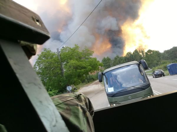 Car Firefighter Destruction Outdoors People Day Tree Sky Flames Smog Military Military Life P10lite Fire