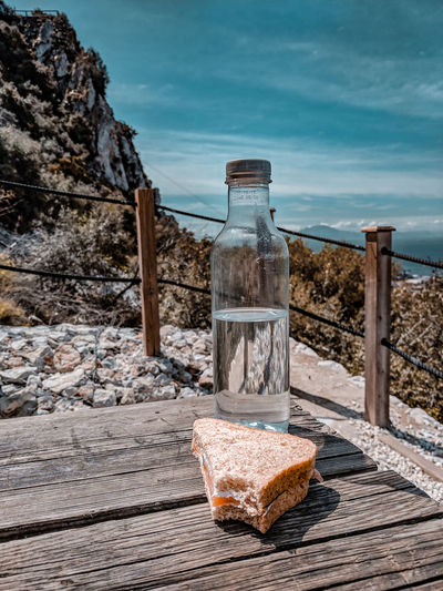 Perfect picnic in Gibraltar, view of Africa Picnic Picnic Table Water Water Bottle  Sandwich Missing Bite Salmon Sandwich Snack Time! Lunch Hiking On A Hike Mediterranean  Europe Africa Water Sky Horizon Over Water Rocky Mountains Calm Seascape Coast Sea