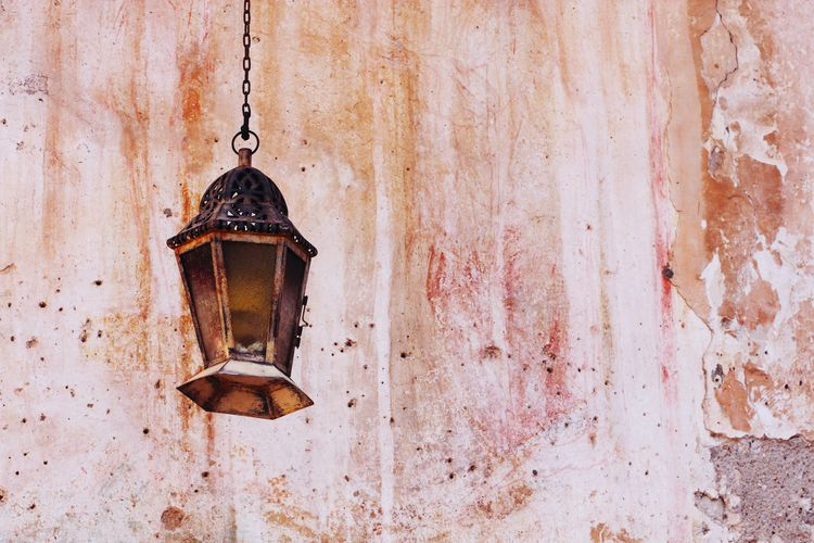 Lamp Hanging Chain Rusty Close-up Architecture Built Structure Peeling Off Bad Condition Damaged