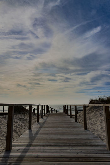 Architecture Built Structure Cloud - Sky Diminishing Perspective Direction Footpath Horizon Horizon Over Water Long Nature No People Outdoors Pier Railing Sea Sky The Way Forward Tranquil Scene Tranquility Water Wood Wood - Material Wood Paneling
