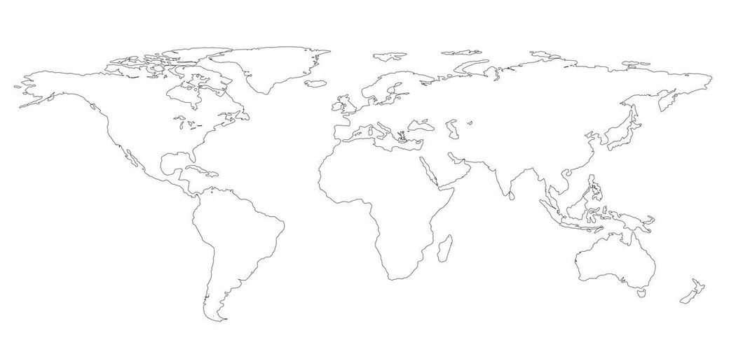 Drawing outline World map isolated on white background. infographics, illustration Business Earth Map Abstract Close-up Continent Day Global Communications Globe Illustration No People Studio Shot Water White Background World