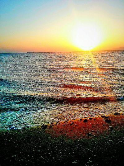 Sunset Over The Sea Sunet Sun Reflection Sun Reflection On Water Sunsetlight Sunlight Sun_collection Sea Sea And Sky Seascape Ras Sudr Egypt Nature Beauty Nature Photography Naturelovers Nature_collection Horizon Over Water Atmospheric Mood Atmosphere Tranquil Scene Smartphonephotography Smartphone Photography Mobile Photography Taking Photos Golden Hour Love To Take Photos ❤