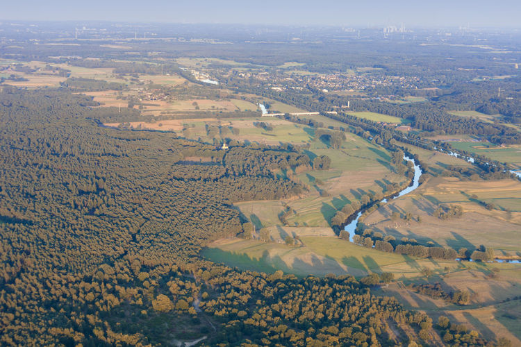 Lippe River and Wesel-Datteln-Kanal in the Lower Rhine Region of Germany - Wesel, North Rhine-Westfalia, Germany, Europe Landscape_Collection NRW Panorama River View Riverside Wesel-Datteln-Kanal Aerial View Beauty In Nature Forest Germany High Angle View Hohe Mark Landscape Landscape_photography Lippe No People Patchwork Landscape River Riverbank Riverscape Sunset Tranquility Water Wesel Woods