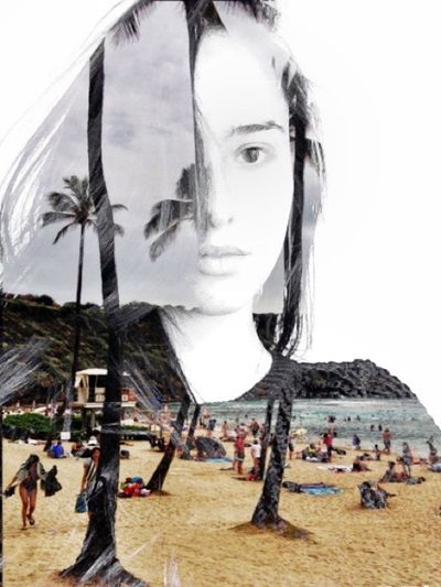Another Edit by me From My Point Of View Bestoftheday EyeEm Best Shots Edited Girl Telling Stories Differently Woman Portrait Woman Editing Portrait Beach Palm Trees Cut And Paste