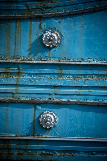 Architecture Backgrounds Blue Building Exterior Close-up Closed Day Door Entrance Full Frame Knob Latch Metal No People Old Outdoors Pattern Protection Rusty Safety Security Wood - Material