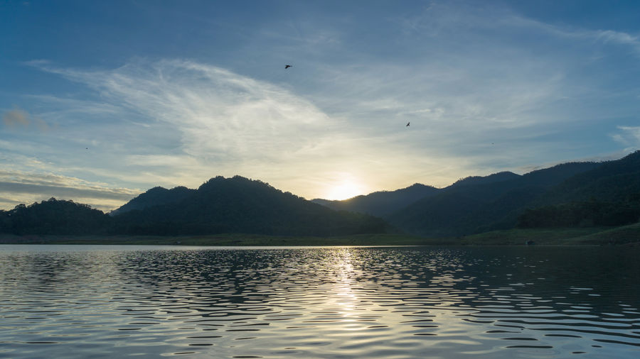 Morning Beauty In Nature Bird Chiang Mai   Thailand Day Lake Landscape Mae Ngat Morning Morning Light Mountain Mountain Range Nature No People Outdoors Reflection Scenics Sky Sunset Thai Thailand Water