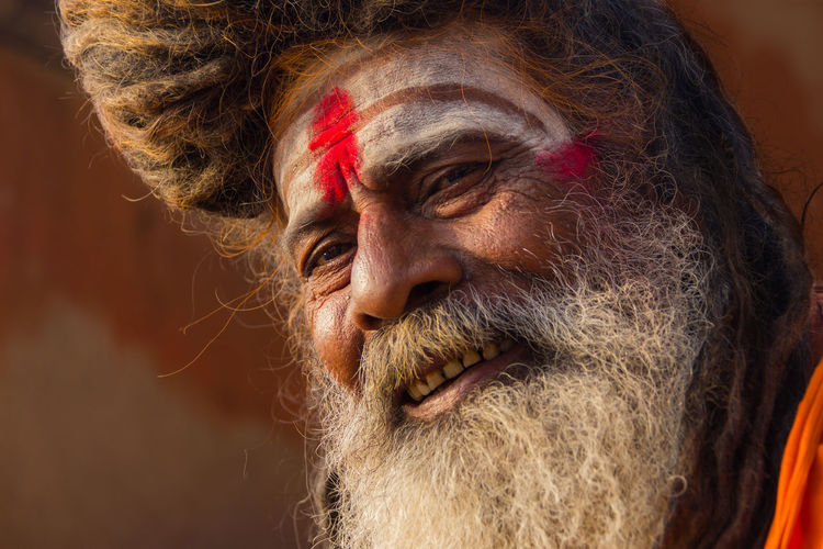 Close-up portrait of sadhu