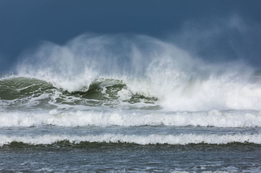 Wind whipping up waves as they break on the beach Breaking Waves Surf Beauty In Nature Horizon Over Water Motion Nature Ocean Spray Outdoors Power Power In Nature Scenics - Nature Sea Water Wave Waves Waves Crashing Waves Rolling In Waves, Ocean, Nature Wind And Waves