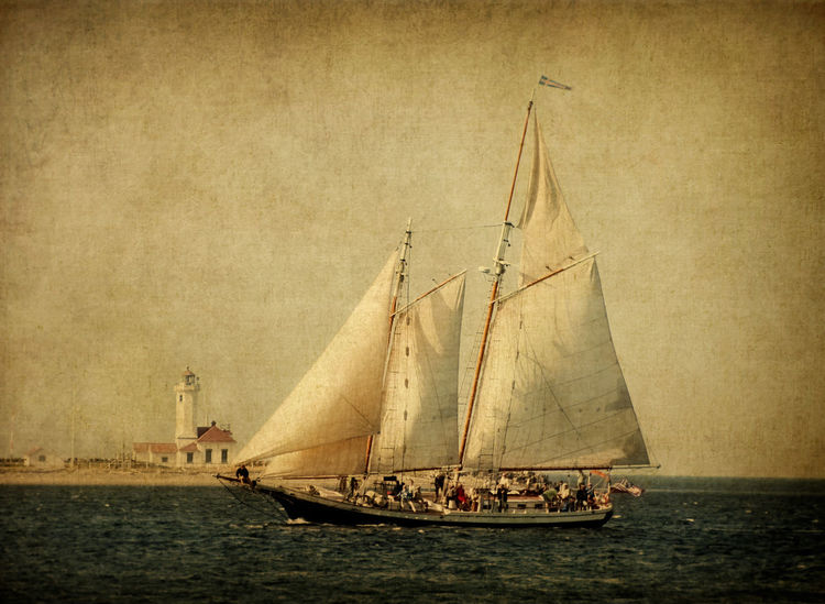 """Spike Africa. The schooner """"Spike Africa"""" off the coast of Port Townsend with Point Wilson Lighthouse in the background. Boat Lighthouse Lighthouse_lovers Nautical Vessel Pacific Northwest  Point Wilson Lighthouse Port Townsend Port Townsend Wooden Boat Fest Puget Sound Race Racing Sail Sailboat Sailing Sailing Boat Salish Sea Schooner Sea Sepia Ship Texture Transportation Water Waterfront Yacht"""