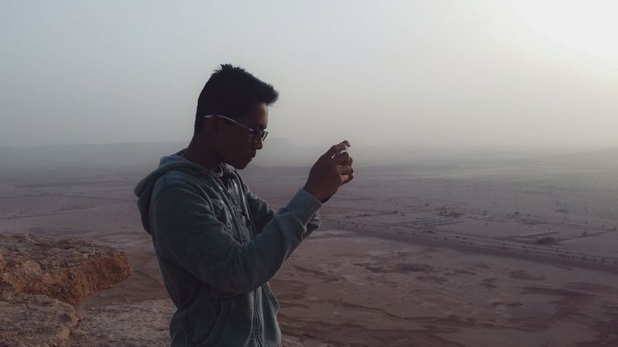 This is not me ... i took a picture of my friend during a hiking Hikingadventures Saudi Arabia Canyons