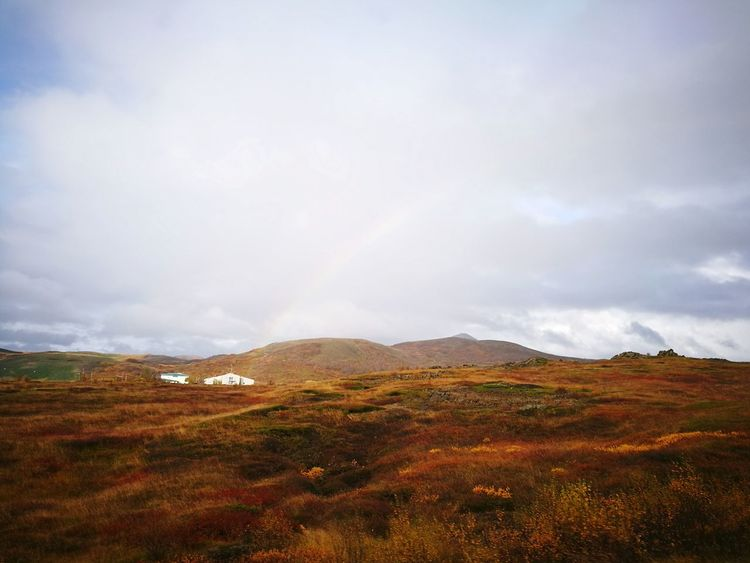 Perspectives On Nature EyeEm Selects Landscape Mountain Cloud - Sky Scenics Dramatic Sky Beauty In Nature Nature Autumn Outdoors No People Rural Scene Mountain Range Day Travel Destinations Storm Cloud Sky Rainbow Iceland Raw Silence