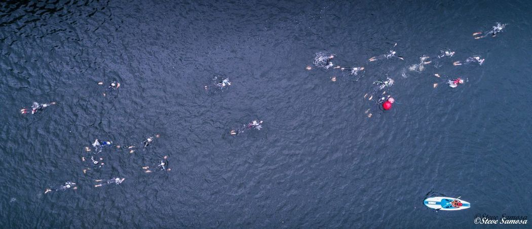 Aerial Shot Drones Swimming TRIATHLON Aerial View Drone Photography High Angle View Lake Outdoors Paddleboarding Real People Swim Triathletes Water