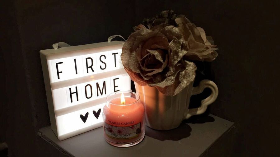 Black Background Candle Candle Light Close-up Dark Darkness And Light First Home Flower Heart Indoors  Light Box No People Shadow Table Text Yankee Candle