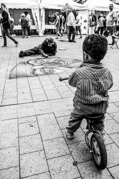 Bicycle Celebrate Your Ride Street Photography Streetphotography Travel Traveling Bicycle Parking Outdoors Urban Transportation City Life Black And White Blackandwhite Arts Culture And Entertainment Street Child Children Children Of The World Children At Play Showcase March Urban Art Street Art Up Close Street Photography The Street Photographer - 2016 EyeEm Awards