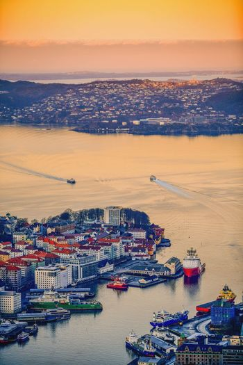 Sunset Architecture Nautical Vessel Aerial View High Angle View Sea Built Structure Cityscape City Building Exterior Harbor Transportation Water Sky Commercial Dock Waterfront No People Shipping  Freight Transportation Outdoors