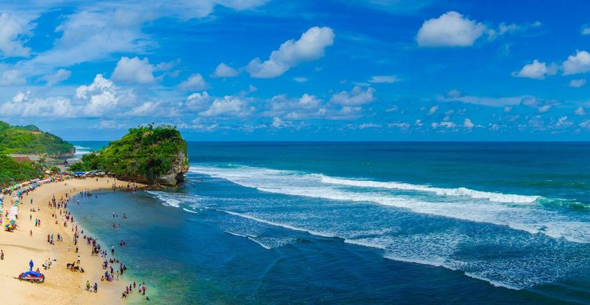 Pantai indrayanti Nature Vacations Outdoors Beach Sea Water Horizon Over Water Beauty In Nature Sky Scenics Nature Cloud - Sky Sand Blue Travel Destinations Wave Day EyeEmNewHere The Great Outdoors - 2017 EyeEm Awards Dronephotography Drone  Drone Photography Drone Dji