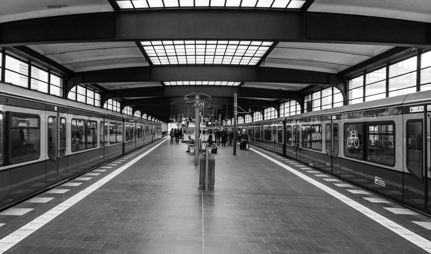 People walking at railway station