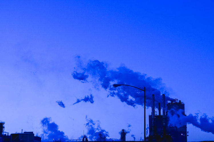 hold your breathe it stinks Architecture Blue Building Exterior Industrial Landscapes Industrial Photography Low Angle View No People Outdoors Sky