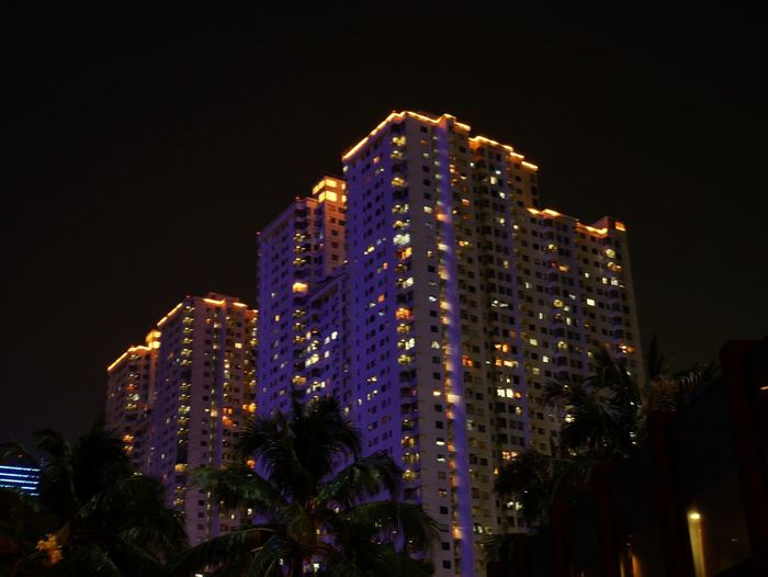 Lights in the sky Night Illuminated Architecture Built Structure Building Exterior Sky Low Angle View Building City No People Nature Office Building Exterior Decoration Glowing Skyscraper Outdoors Tall - High