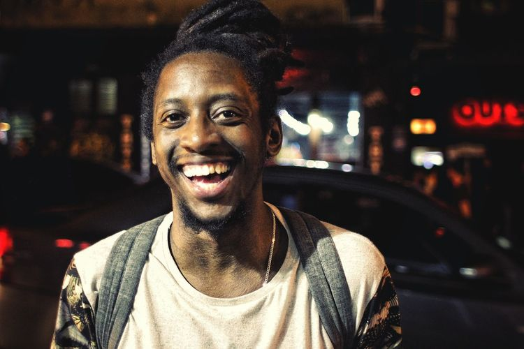 HUAWEI Photo Award: After Dark City Portrait Smiling Cheerful Happiness Looking At Camera Illuminated Headshot Front View Street