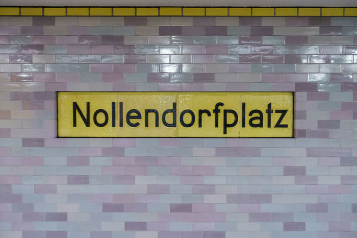 Nollendorfplatz. Berlin Bvg Gayborhood Germany Indoors  Metro Nollendorfplatz Place Schöneberg Sign Station Subway Text Tunnel U2 Underground Wall Yellow