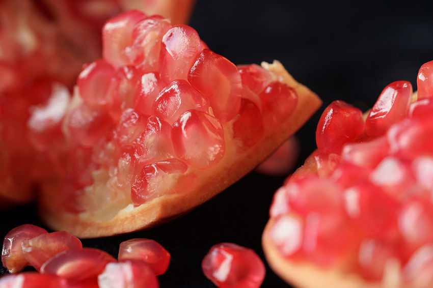 pomegranate Beauty In Nature Close-up Day Food Freshness Fruit Indoors  Nature No People Pomegranate Pomegranate Seed Red Studio Shot
