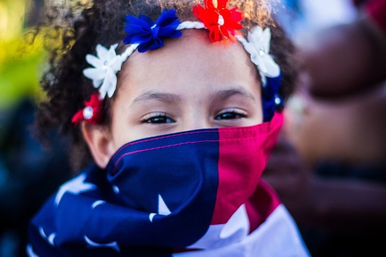 EyeEm Selects, Patriotic Portrait Looking At Camera Headshot Child Red One Person People Children Only Human Body Part Childhood Close-up Day Young Adult Outdoors