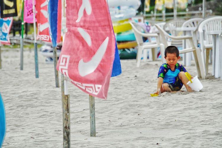 福島県 いわき 勿来海水浴場 海の家 砂浜 子供 男の子