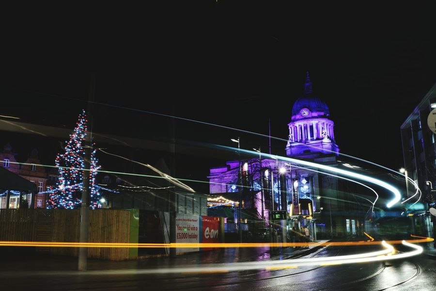 Light trails on Nottingham Market Square Light Trails Light Trail Photography Nottingham Market Square Nottingham Market Square Long Exposure Shot Long Exposure Night Photography Tram Night Illuminated Architecture Speed Light Trail Long Exposure Blurred Motion Building Exterior Built Structure Outdoors Low Angle View City Life Transportation EyeEm Ready   Mobility In Mega Cities