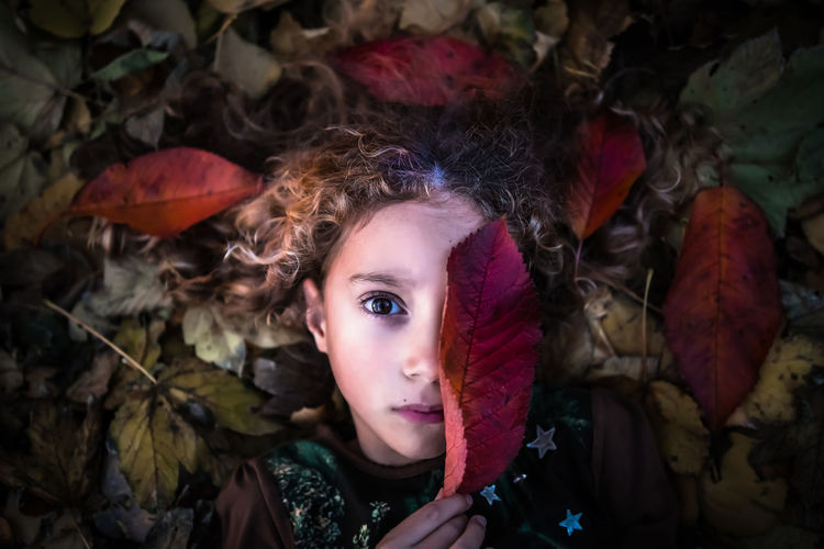 Directly above portrait of girl holding dry leaf while lying in park